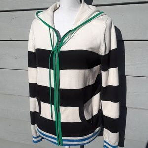 Two by Vince Camuto zip hooded stripe sweater